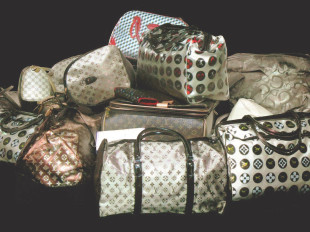 Louis Vuitton Bags, painted in white with video projection